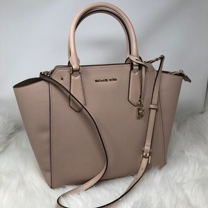 Michael Kors Leather Zip Crossbody Tote Bag